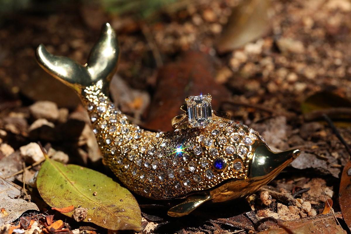 Emerald cut diamond engagement ring on crystal dolphin ring box holder macro photography