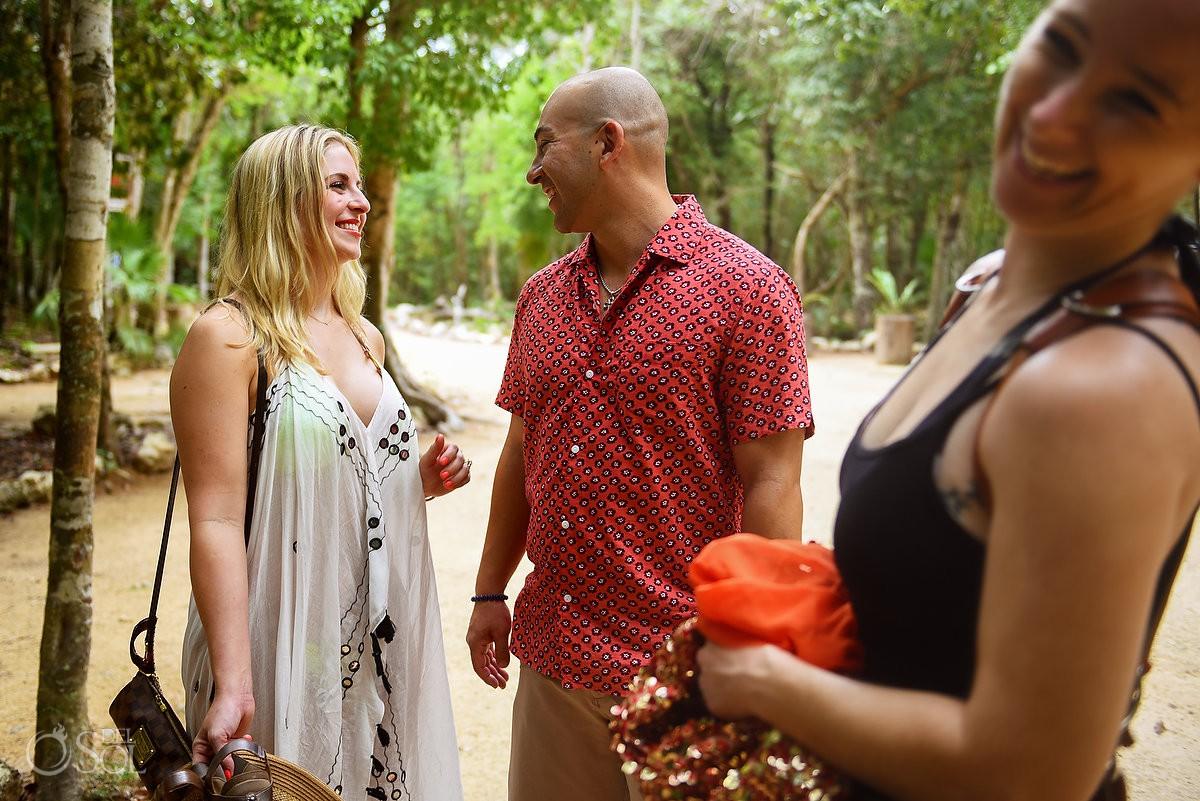 Fairytale Mermaid Proposal SURPRISE moment photographer laughingl Riviera Maya Cenote