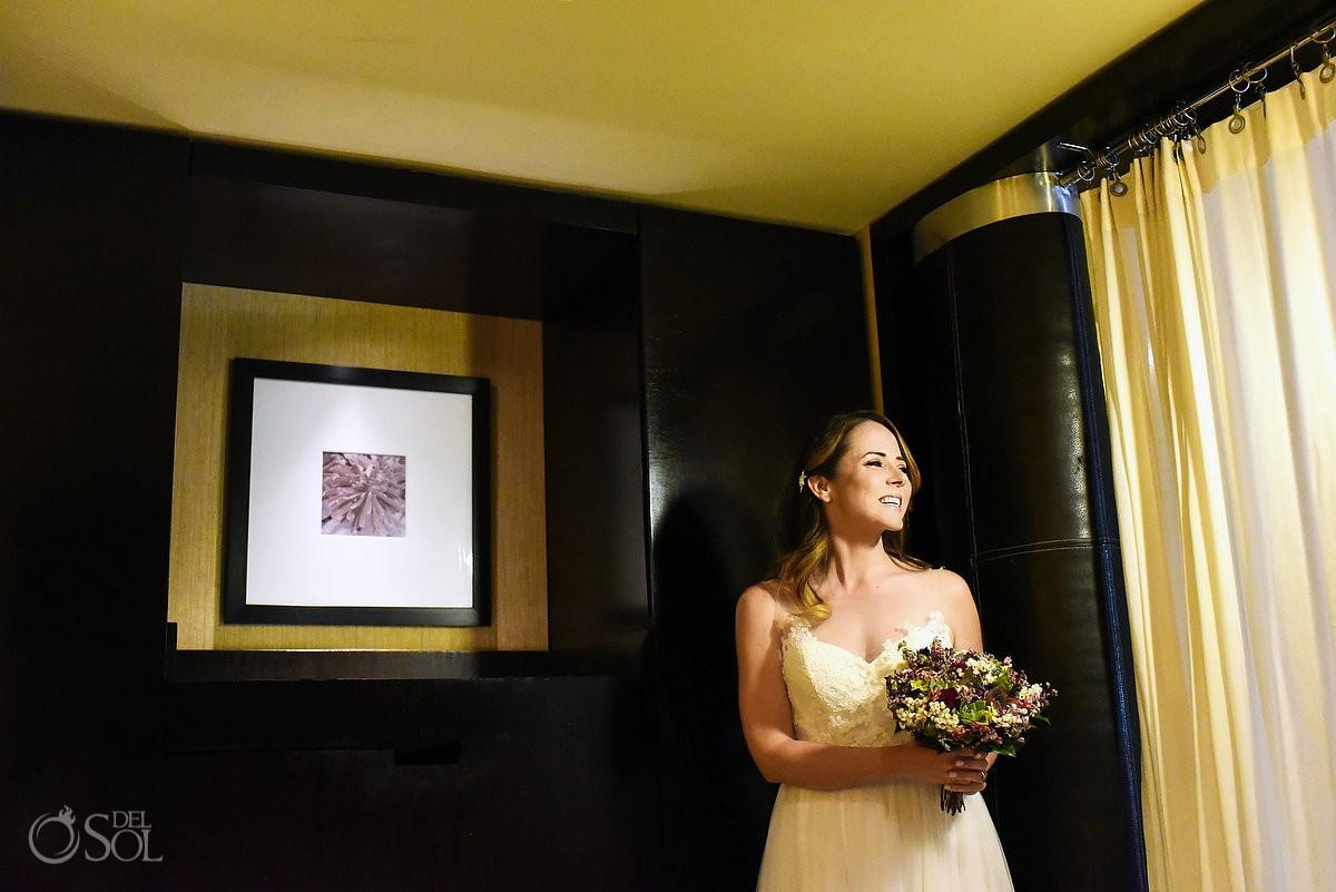 Beautiful bride portrait before wedding ceremony Azul Beach Hotel by Karisma, Puerto Morelos, Mexico