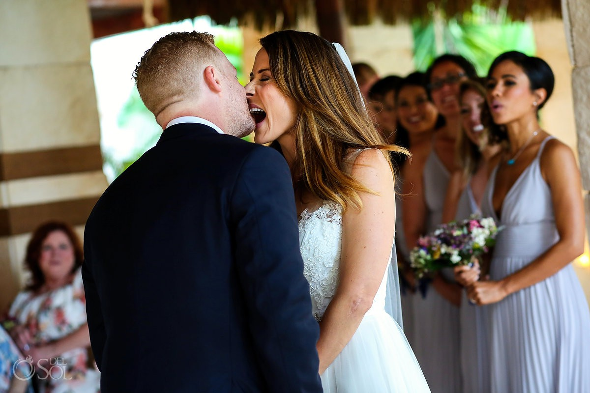 First kiss just married bride and groom Azul Beach Hotel by Karisma, Puerto Morelos, Mexico