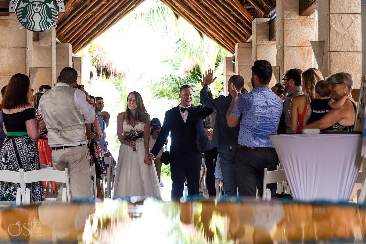 Just married destination wedding Azul Beach Hotel by Karisma, Puerto Morelos, Mexico