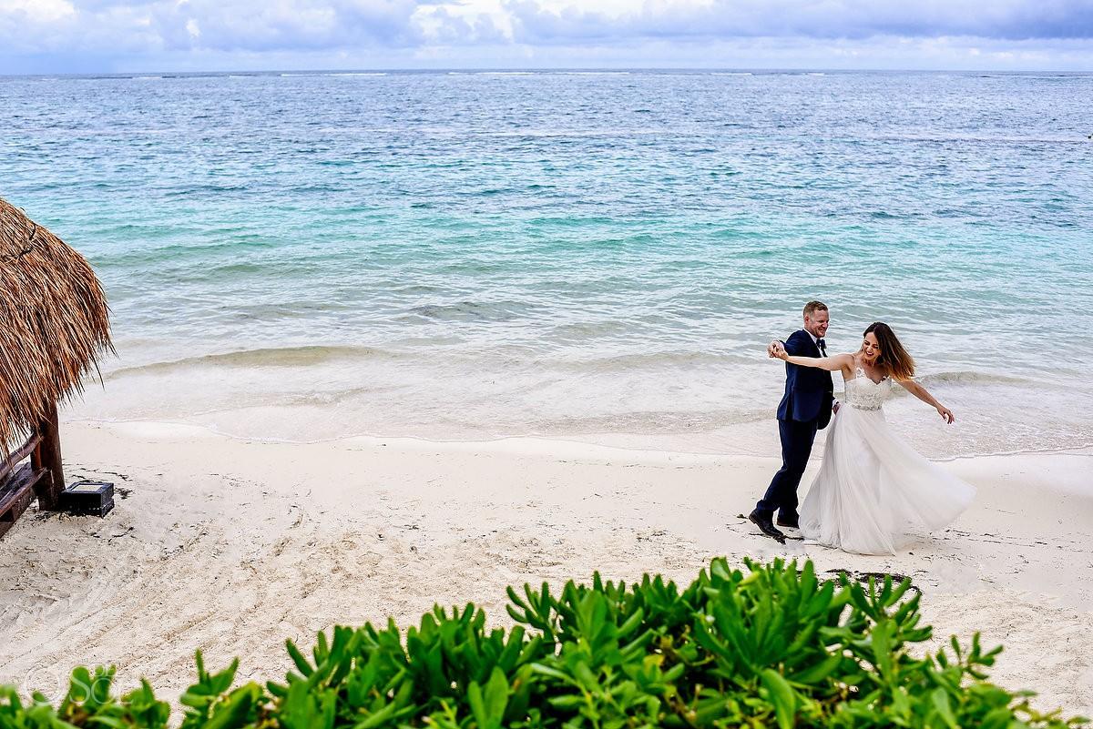 Bride and Groom dancing beach destination wedding Azul Beach Hotel by Karisma, Puerto Morelos, Mexico