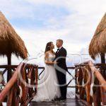 Beach love bride and groom romantic portrait Azul Beach Hotel by Karisma, Puerto Morelos, Mexico