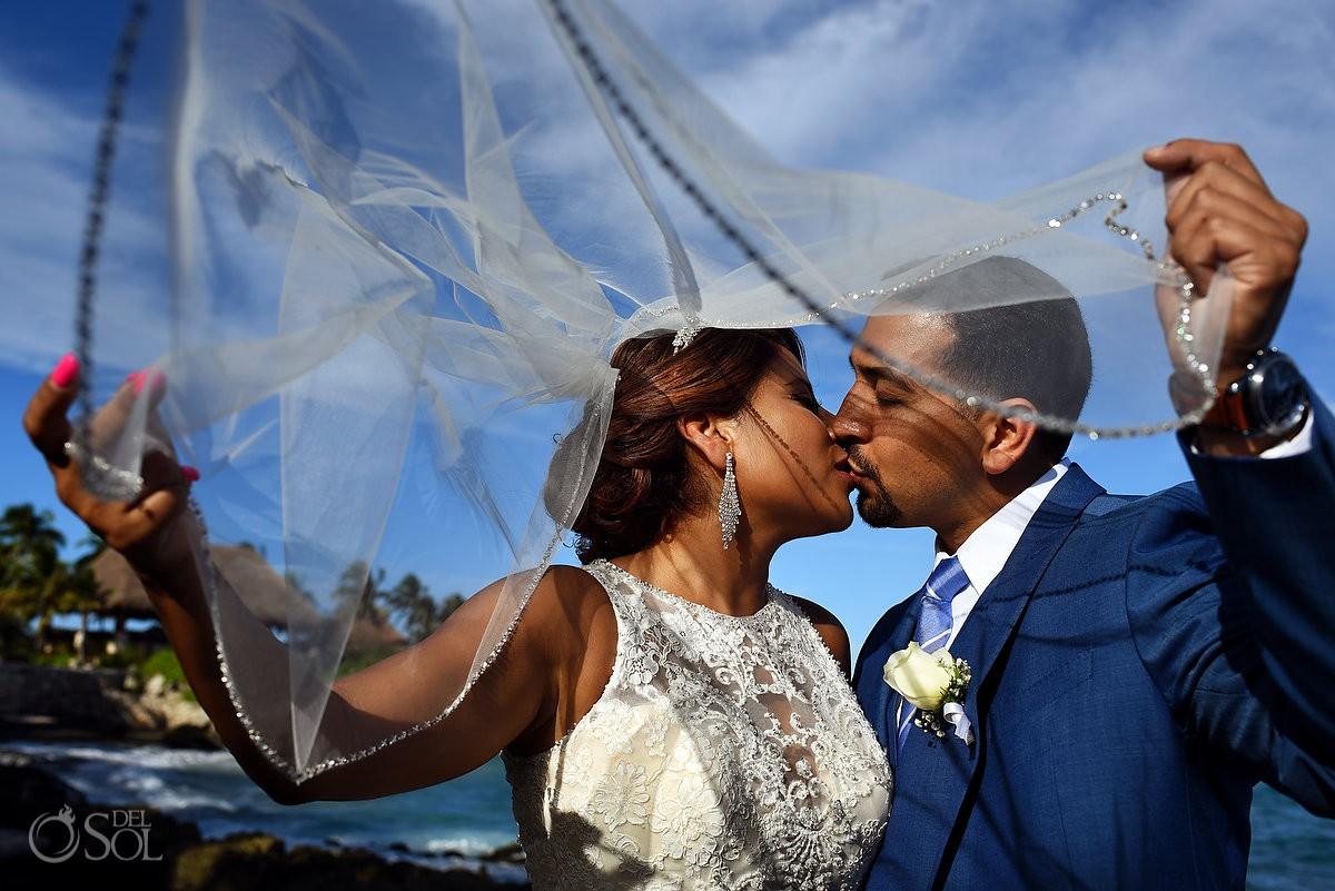 Bride and Groom veil portrait Guadalupe Chapel / Xcaret Park Riviera Maya Mexico Playa del Carmen Mexico