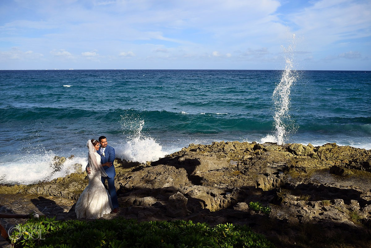 Wedding beach portraits Bride and Groom after Ceremony Guadalupe Chapel / Xcaret Park Riviera Maya Mexico Playa del Carmen Mexico