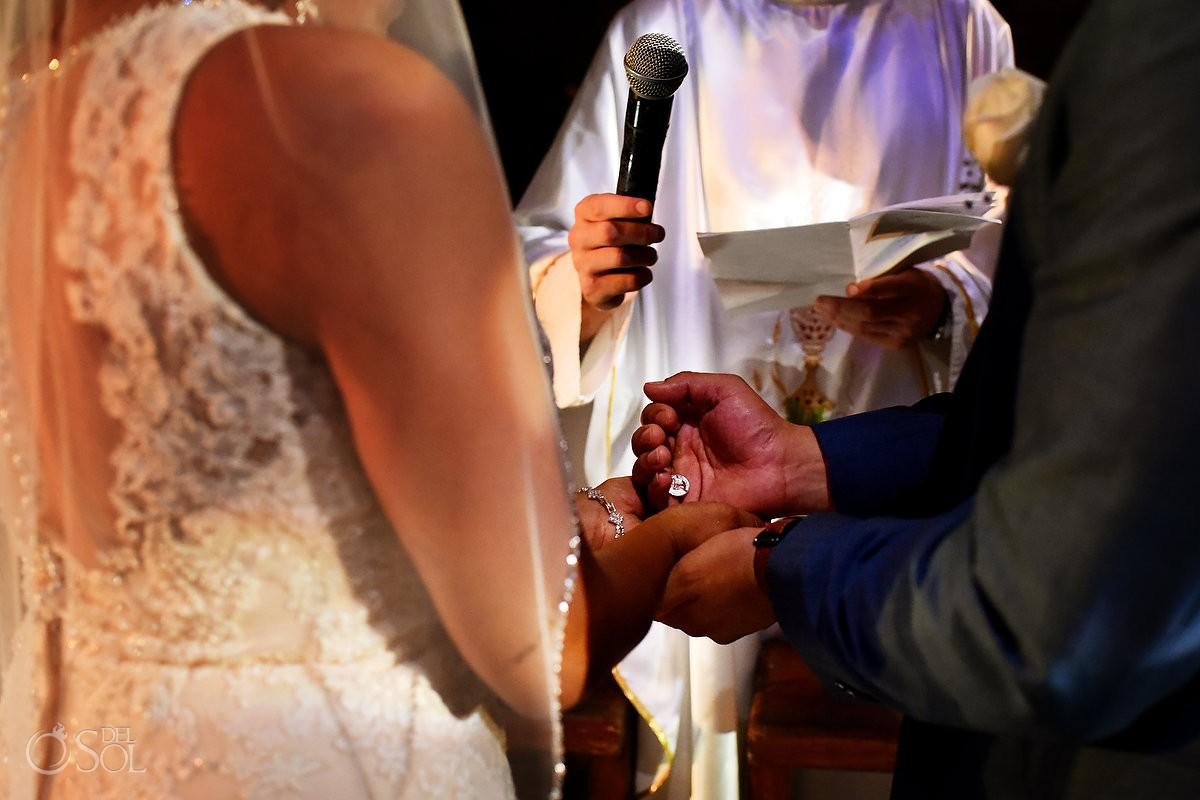 Gift of coins Catholic Wedding Ceremony Guadalupe Chapel / Xcaret Park Riviera Maya Mexico Playa del Carmen Mexico