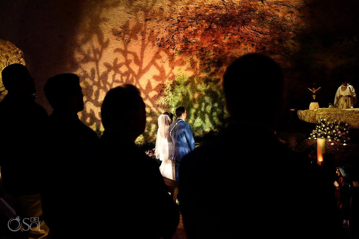 Creative wedding mass silhouettte Guadalupe Chapel / Xcaret Park Riviera Maya Mexico Playa del Carmen Mexico