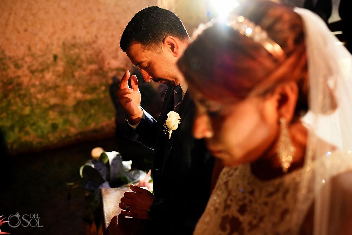 Catholic Wedding Ceremony Guadalupe Chapel / Xcaret Park Riviera Maya Mexico Playa del Carmen Mexico