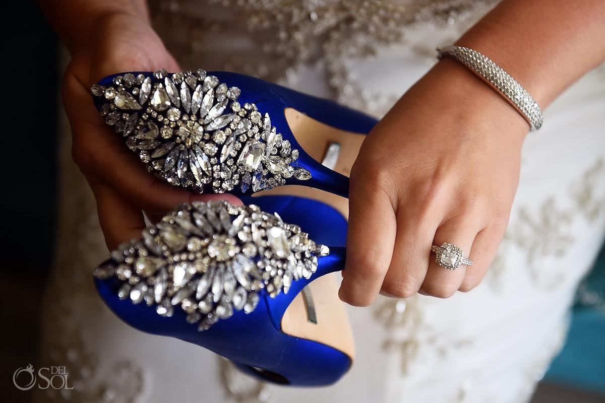 badgley mischka royal blue crystal swarovski crystal heel wedding shoes stilettos and engagement ring
