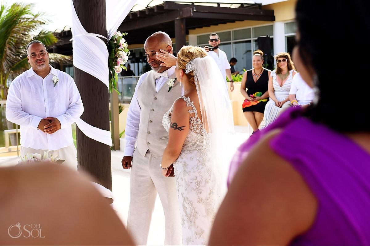 bride wipes groom's tear Now Jade Riviera Cancun Puerto Morelos Destination wedding