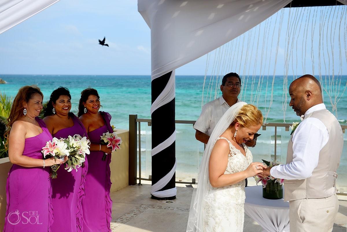 bird flies through ring exchange Now Jade Riviera Cancun Puerto Morelos Destination wedding