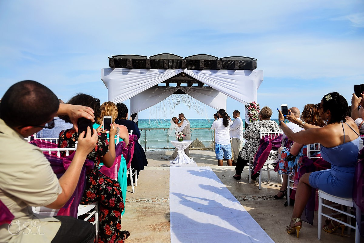 first kiss Now Jade Riviera Cancun Puerto Morelos Destination wedding