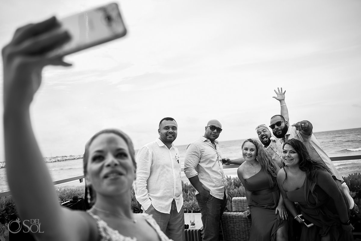 bride taking selfie with friends Now Jade Riviera Cancun Puerto Morelos Destination wedding