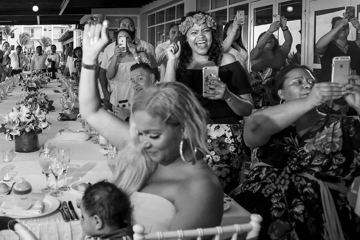 guests cheering Now Jade Riviera Cancun Puerto Morelos Destination wedding reception mexico