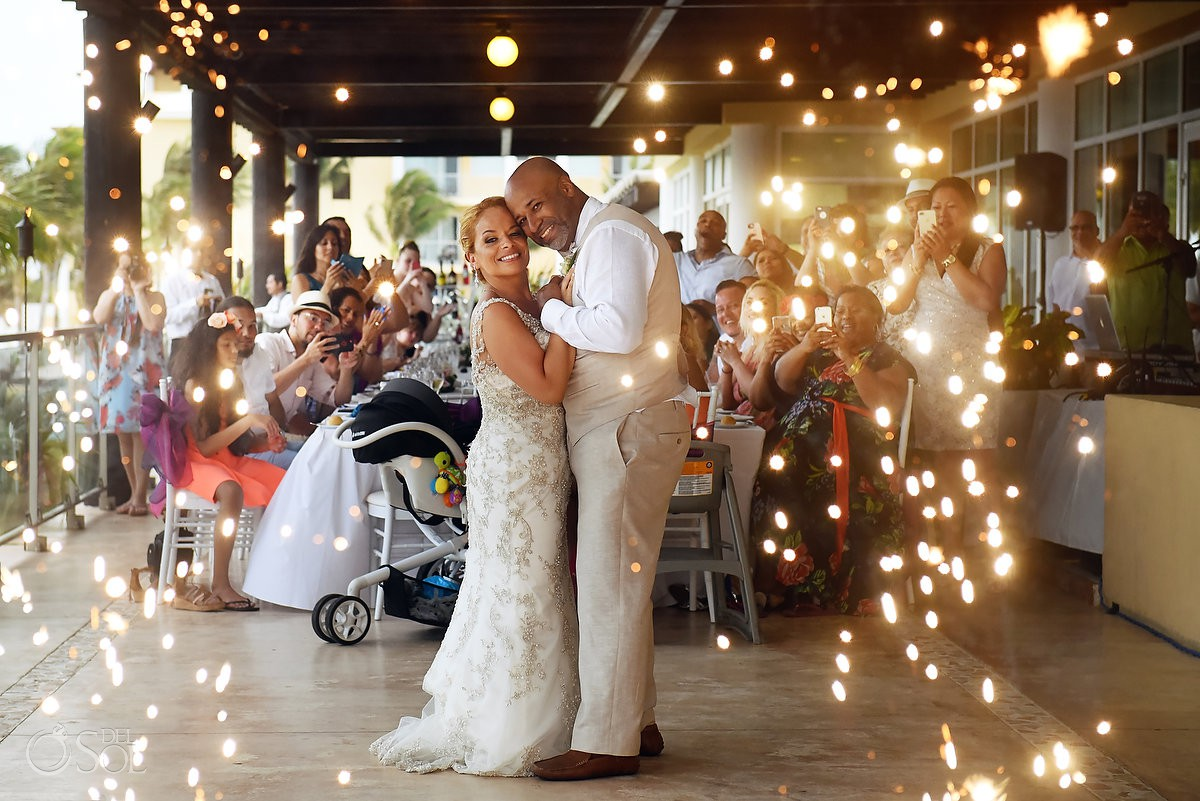 first dance fireworks Now Jade Riviera Cancun Puerto Morelos Destination wedding reception Mexico