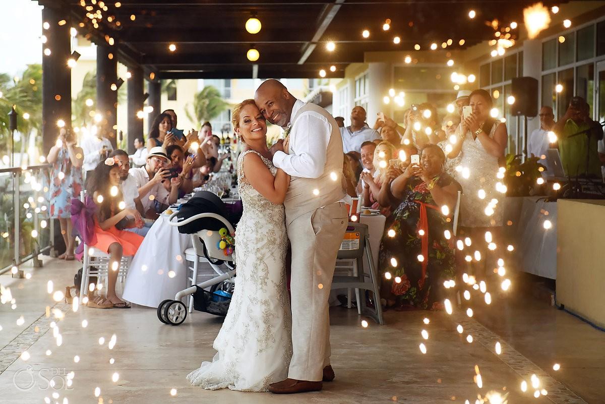first dance fireworks Now Jade Riviera Cancun Puerto Morelos Destination wedding reception Mexico