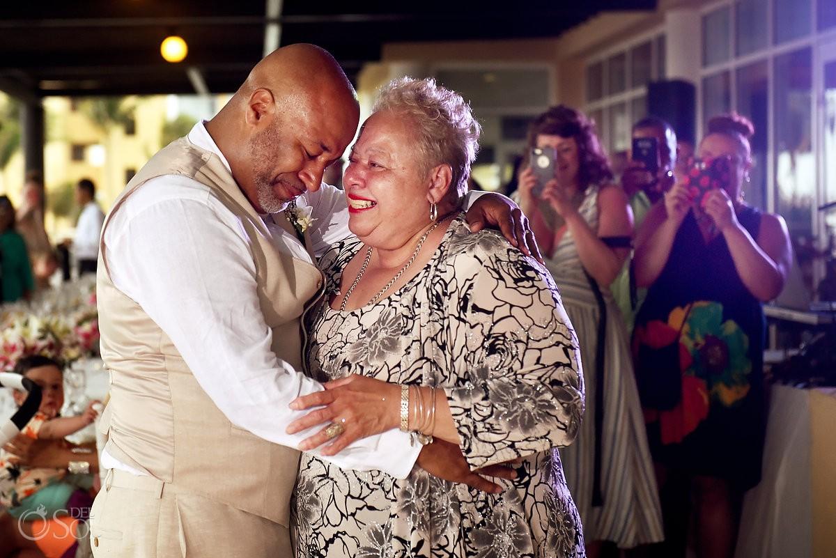 groom mother dance Now Jade Riviera Cancun Puerto Morelos Destination wedding reception Mexico