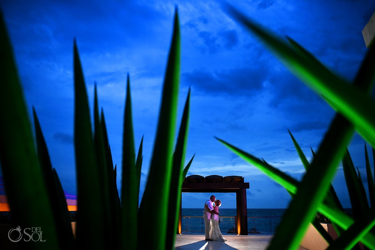 #TravelForLove creative bright color backlit night portrait Now Jade Riviera Cancun Puerto Morelos Destination wedding reception Mexico