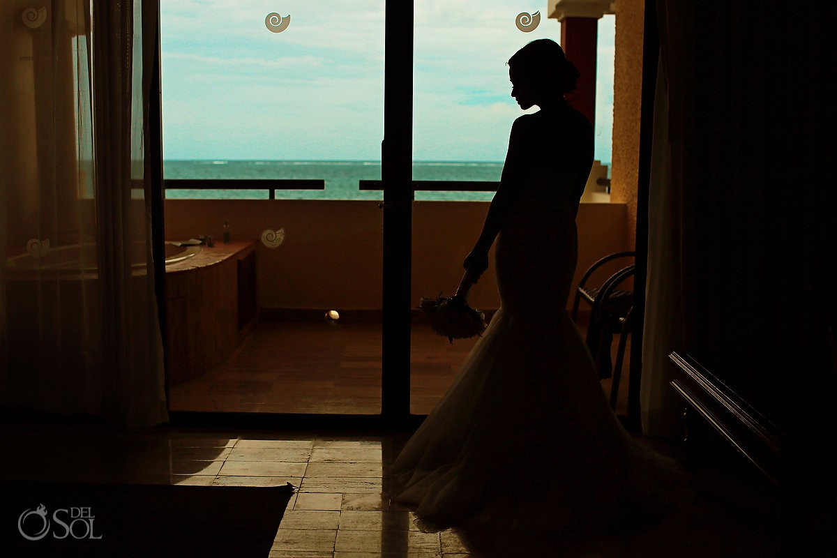 bride silhouette getting ready destination wedding Now Sapphire Riviera Cancun Mexico