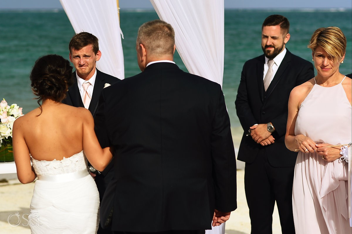 emotional groom first look beach wedding Now Sapphire Riviera Cancun Mexico