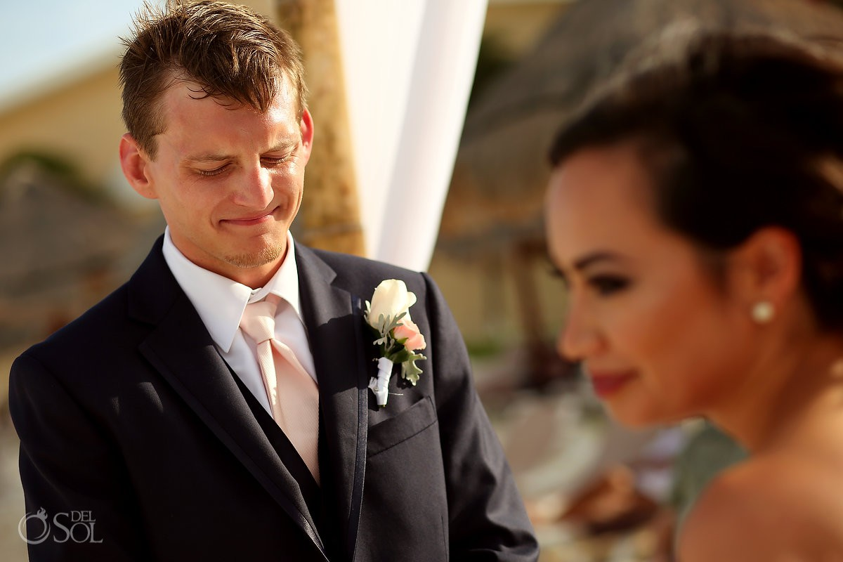 emotional groom beach wedding Now Sapphire Riviera Cancun Mexico