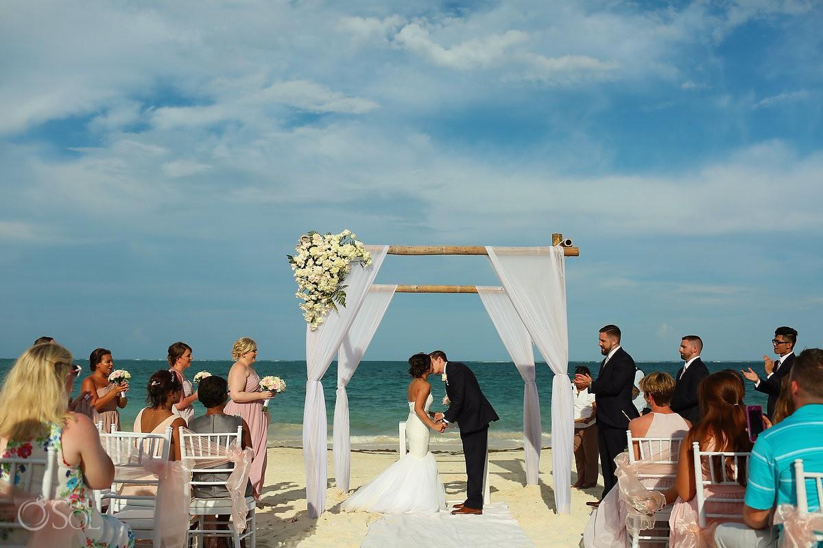 first kiss beach wedding Now Sapphire Riviera Cancun Mexico