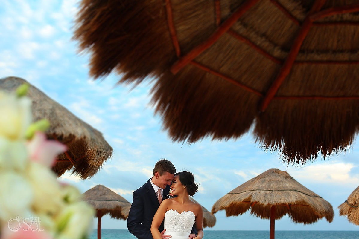 destination wedding bride and groom portrait Now Sapphire Riviera Cancun Mexico