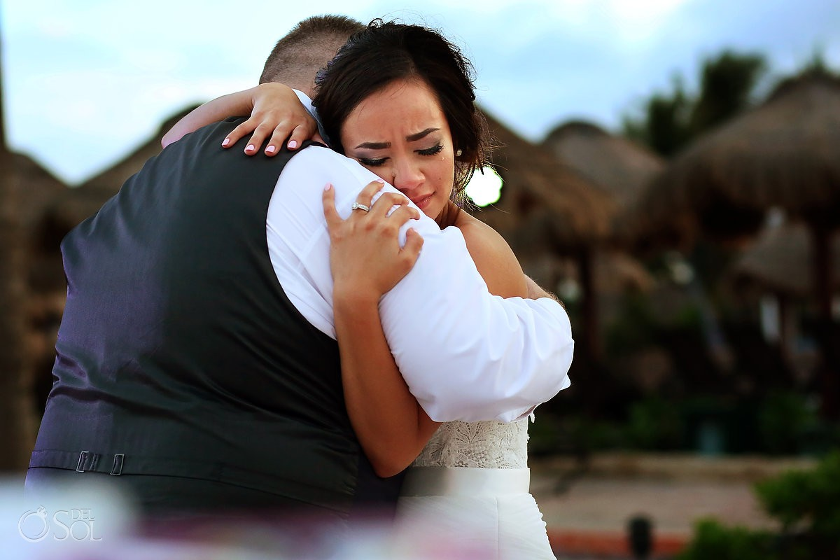 bride crying father daughter dance Now Sapphire Riviera Cancun Mexico