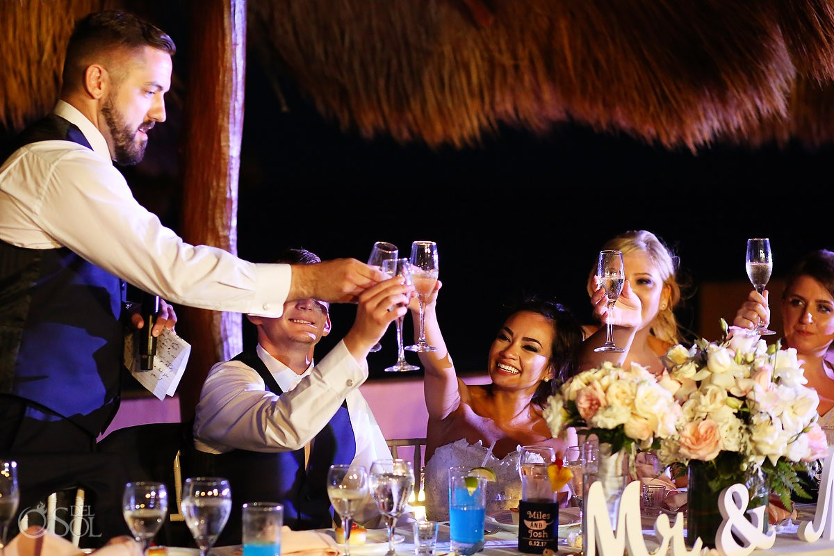 toasts destination wedding reception Now Sapphire Riviera Cancun Mexico