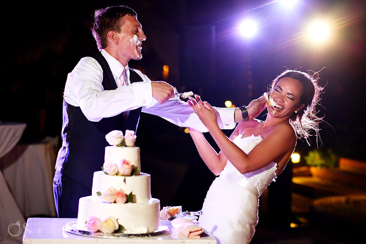 cake smash! funny wedding photos destination wedding reception Now Sapphire Riviera Cancun Mexico