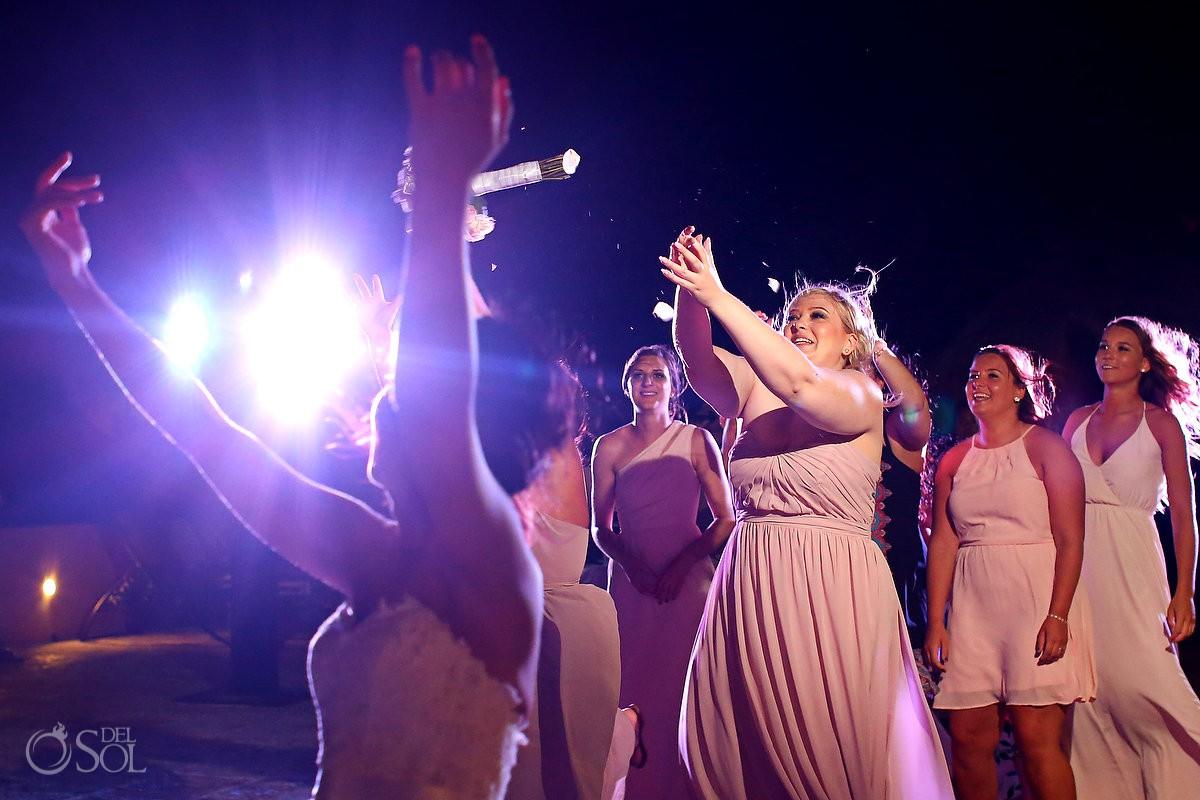 bridesmaid wins aggressive bouquet toss destination wedding reception Now Sapphire Riviera Cancun Mexico