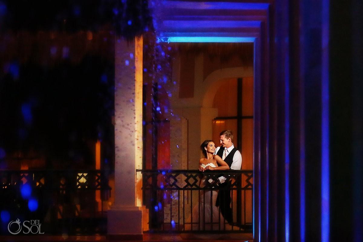 night portrait destination wedding reception Now Sapphire Riviera Cancun Mexico