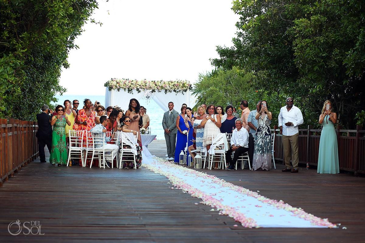 groom waiting for bride to arrive destination wedding Gabi Bridge Paradisus Playa del Carmen La Perla Mexico