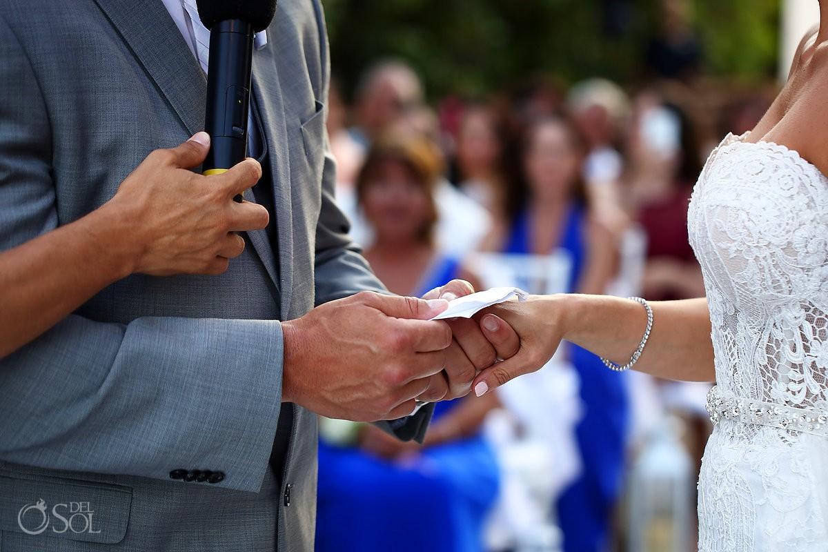 destination wedding Ring exchange Gabi Bridge Paradisus Playa del Carmen La Perla Mexico