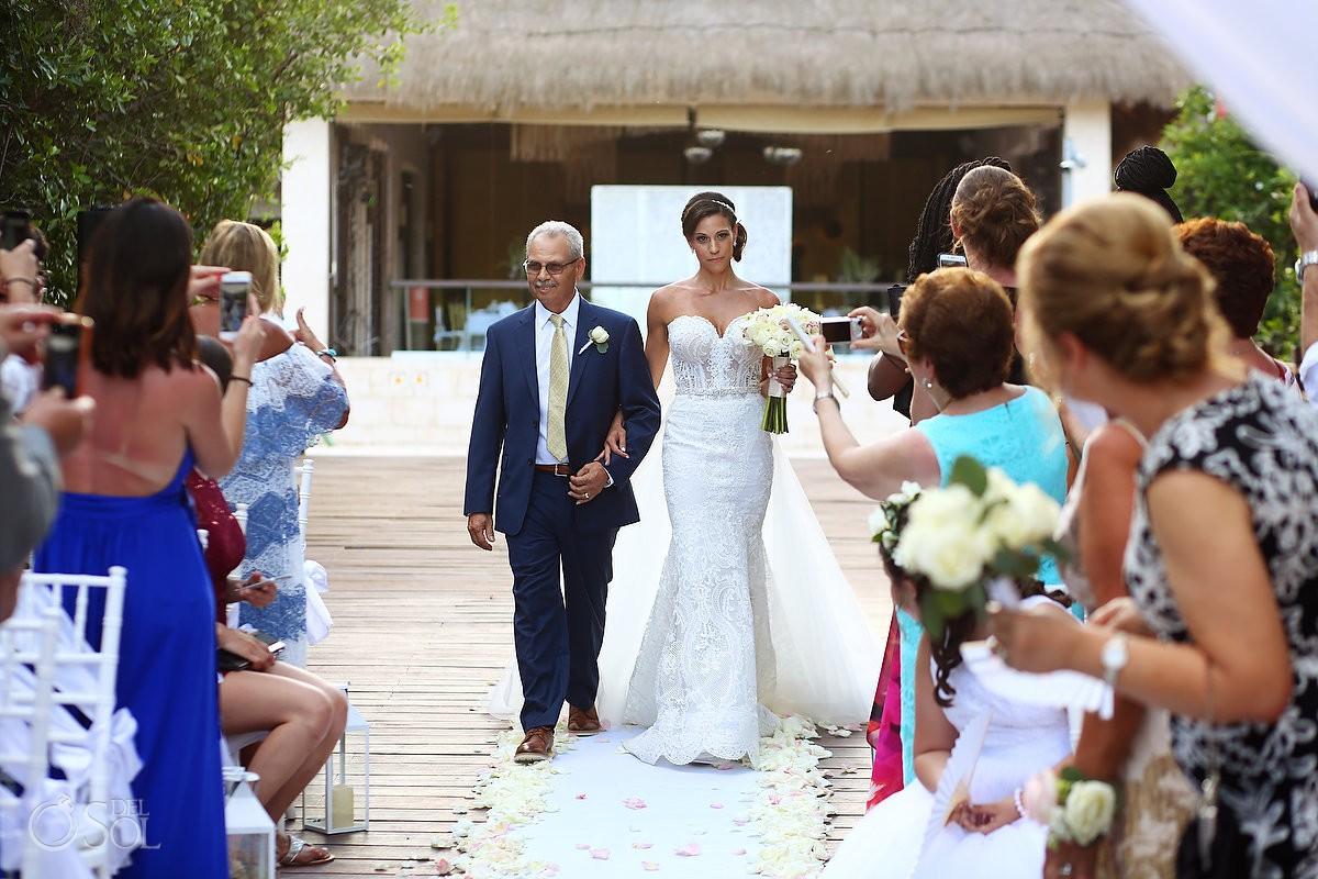 bride entrance destination wedding Gabi Bridge Paradisus Playa del Carmen La Perla Mexico