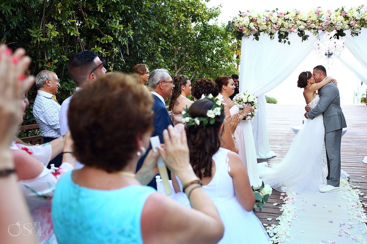 first kiss destination wedding Gabi Bridge Paradisus Playa del Carmen La Perla Mexico