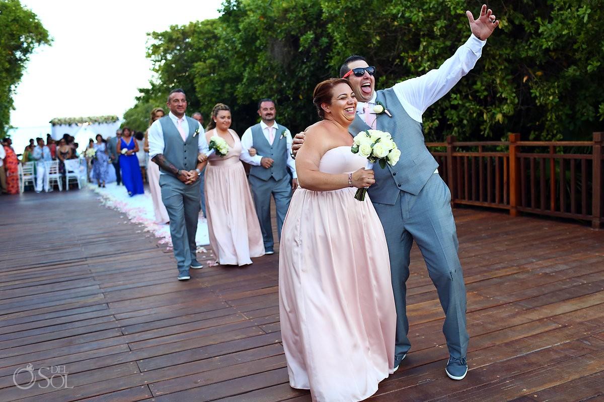 funny bridal party photo destination wedding Gabi Bridge Paradisus Playa del Carmen La Perla Mexico