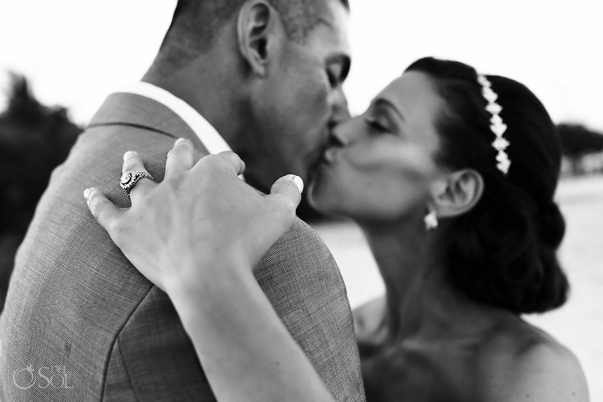 black and white destination weddingPortrait showcasing diamond engagement ring Gabi Bridge Paradisus Playa del Carmen La Perla Mexico