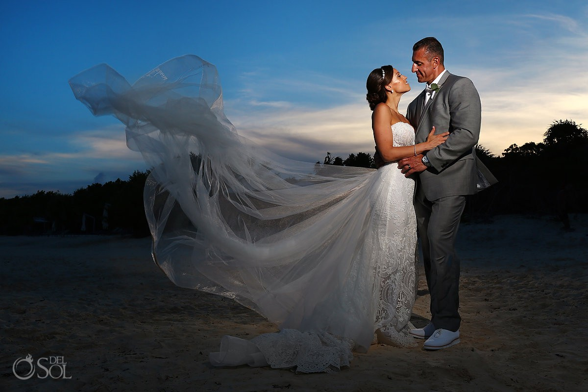 Sunset beach destination wedding Portrait Paradisus Playa del Carmen La Perla Mexico
