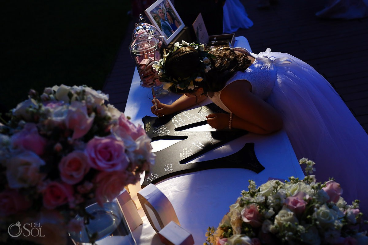 flower girl signing guestbook destination wedding Reception Gabi club Paradisus Playa del Carmen La Perla Mexico