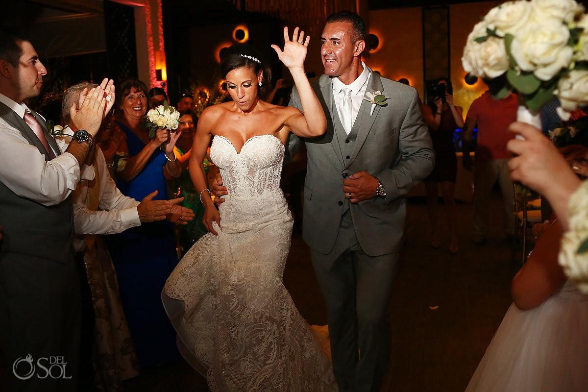 bride and groom entrance destination wedding Reception Gabi club Paradisus Playa del Carmen La Perla Mexico