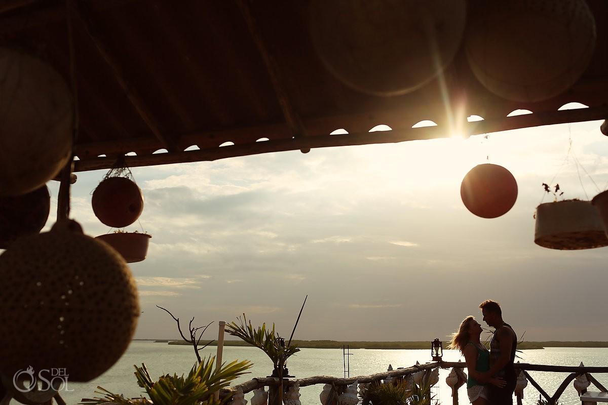 Sunset portrait pink romance Rio Lagartos mexico Macumba restaurant