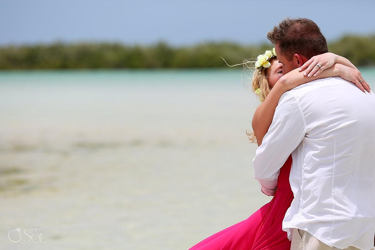 Surprise Pink Romance Vow renewal ceremony Rio Lagartos Yucatan Mexico