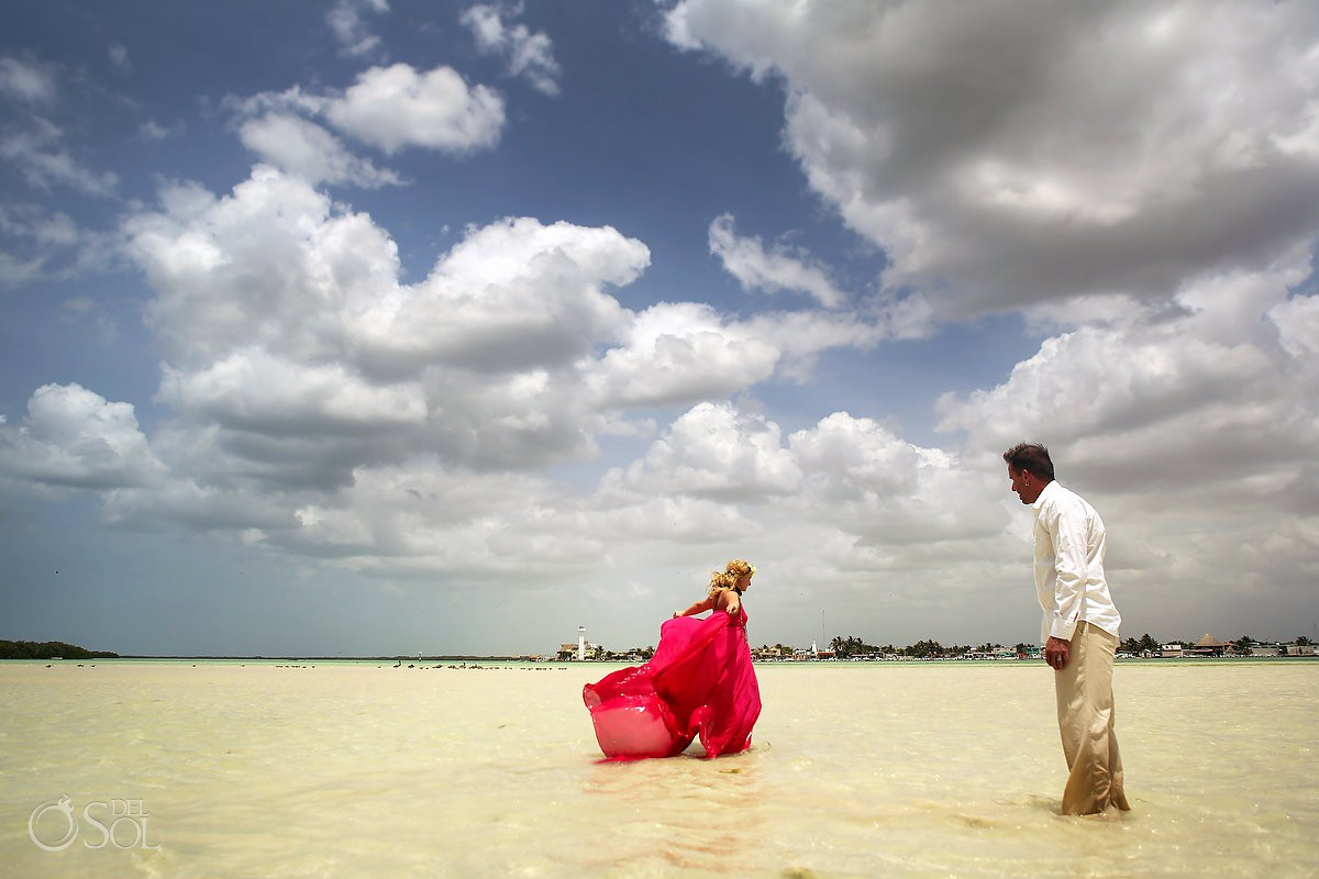Surprise vow renewal Rio Lagartos Yucatan Mexico pink romance love adventure