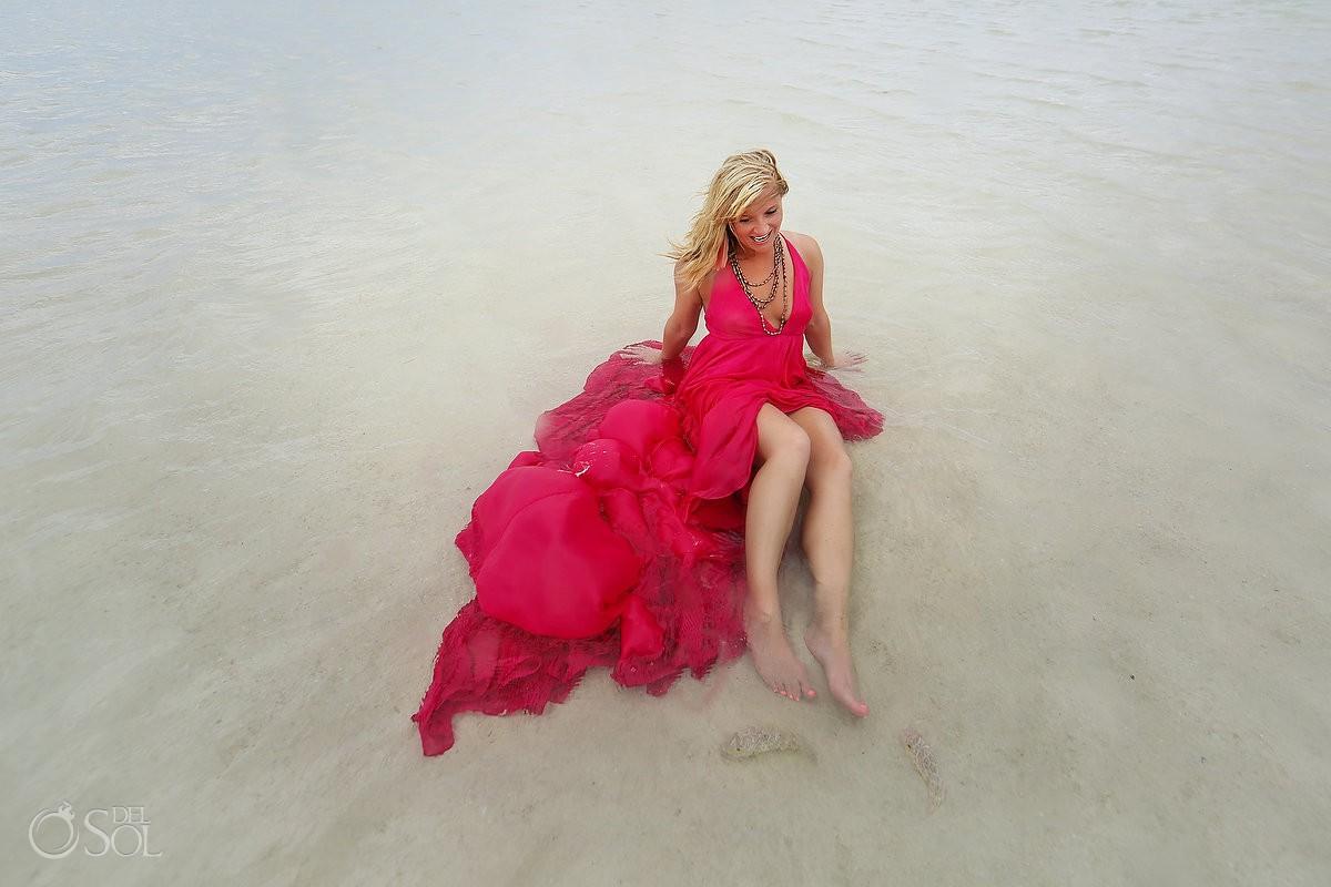 David Salomon Dress design pink romance surprise vow renewal Rio Lagartos Yucatan Mexico adventure #ExperienciasInfinitas