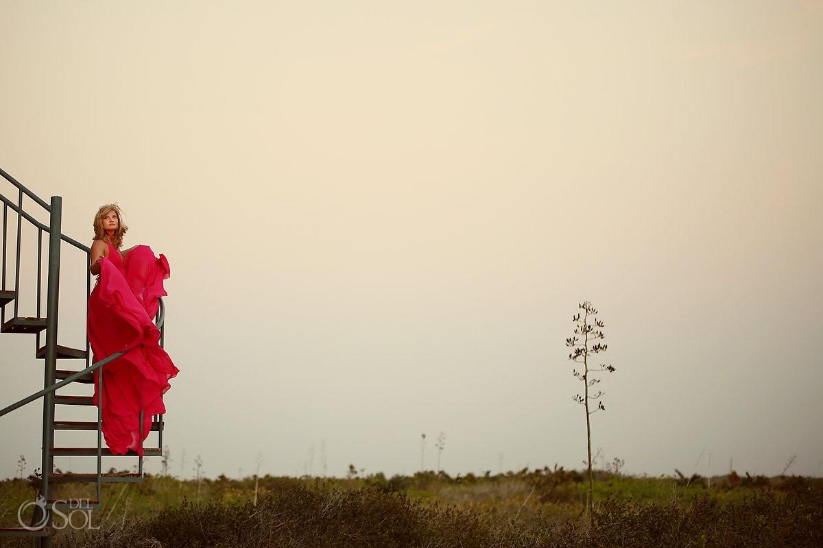 Pink Romance dress by David Salomon hotel Nirvana blue Yucatan Mexico