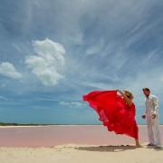 Pink Romance surprise vow renewal Las coloradas Yucatan Mexico dress designed by David Salomon #ExperienciasInfinitas