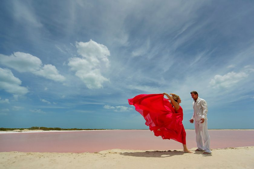 Pink Romance surprise vow renewal Las coloradas Yucatan Mexico dress designed by David Salomon #ExperienciasInfinitas