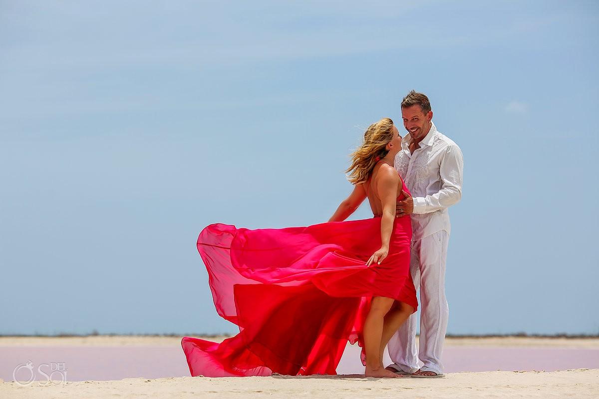 Pink Romance las coloradas yucatan mexico surprise vow renewal dress designed david salomon #ExperienciasInfinitas