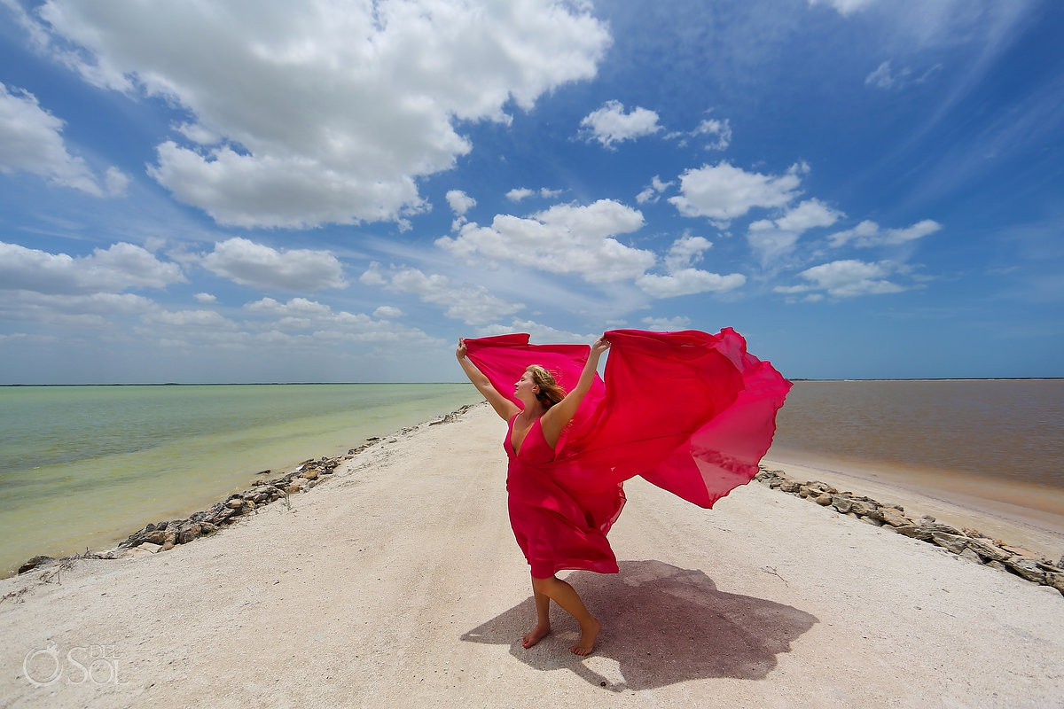 Pink Romance dress in las coloradas yucatan mexico designed by david salomon